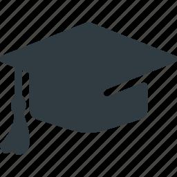 cap, certificate, diploma, graduation, hat, school, success icon