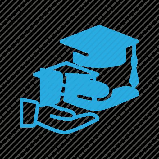 cap, certificate, diploma, graduation, hat, hold, success icon