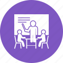 desk, male, man, presentation, presenter, training icon