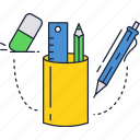 education, eraser, pen, pencil, ruler, school, set icon