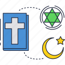 bible, book, christianity, cross, islam, judaism, religion icon
