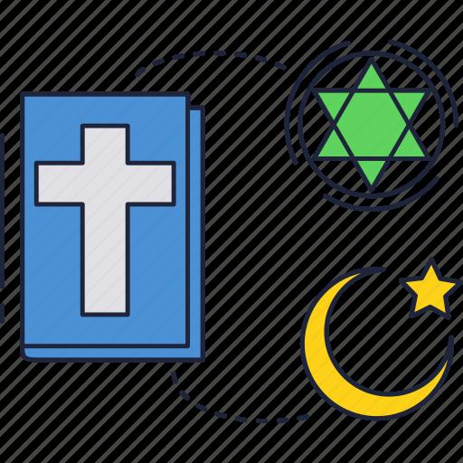 bible, book, christianity, cross, islam, judaism, religion icon