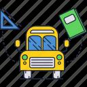 book, bus, car, education, school icon