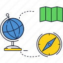 compass, education, geography, globe, map, school icon