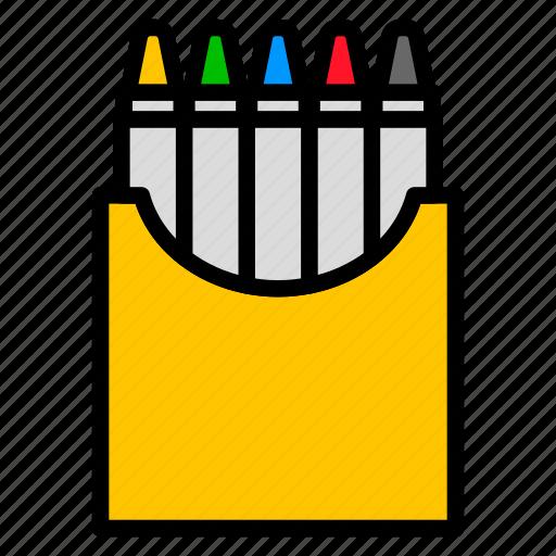 color, crayon, drawing, equipment, school icon