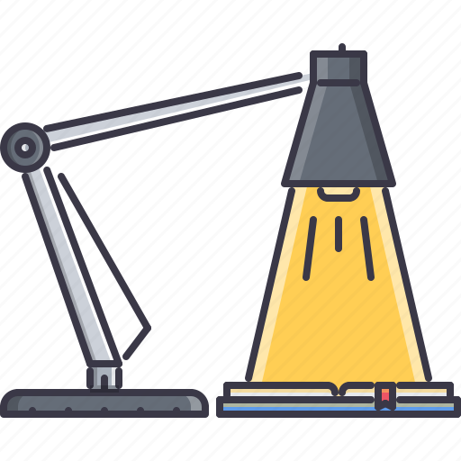 book, college, lamp, learning, school, table, university icon