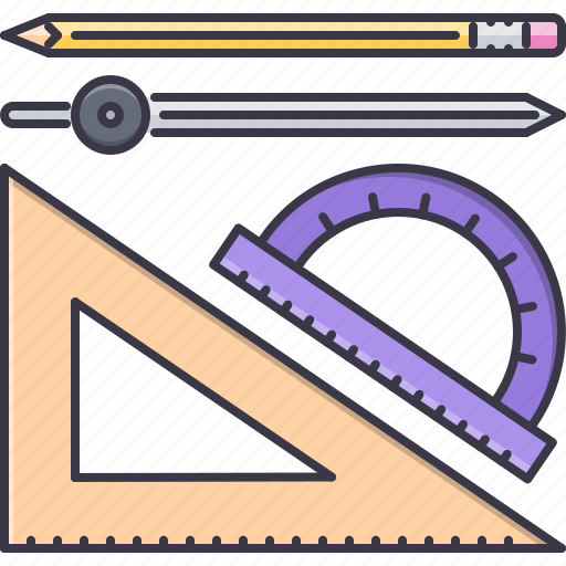 compasses, learning, pencil, protractor, school, triangle, university icon