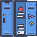 apple, book, college, learning, lock, locker, school icon