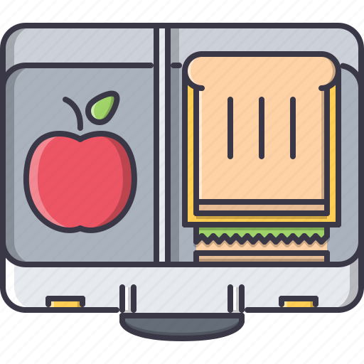 apple, box, college, food, launch, learning, sandwich icon