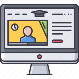 learning, lesson, online, teacher, training, video icon