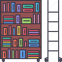 book, college, ladder, library, school, shelf, university icon