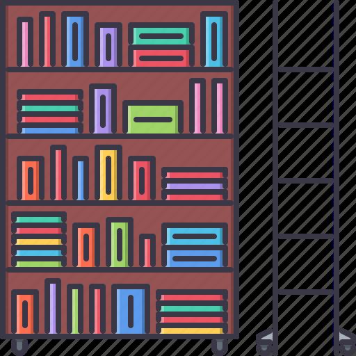 book, college, ladder, library, school, shelf, university icon