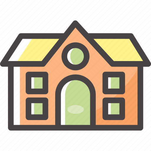 building, home, real estate, school icon