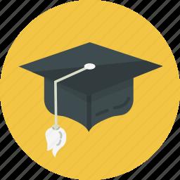 academic, achievement, bow, cap, graduation, school, student icon