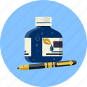botlle, fountain, ink, nib, pen, school, writing icon