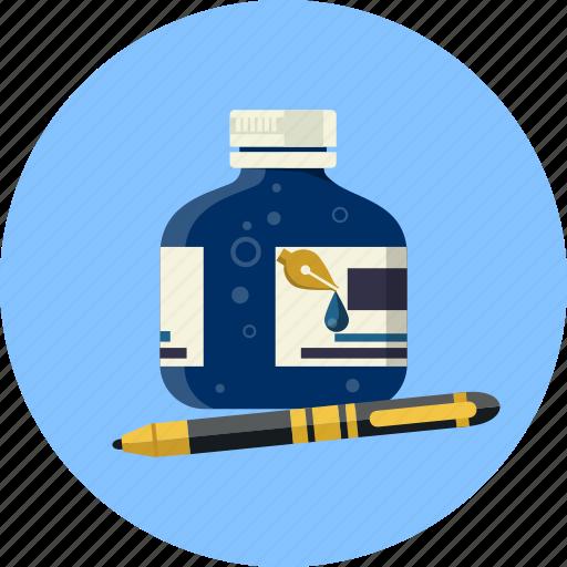 botlle, fountain, ink, nib, pen, school, writing icon