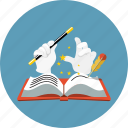 education, story, book, feather, literature, magic wand, mystery icon