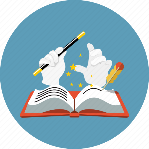 book, education, feather, literature, magic wand, mystery, story icon