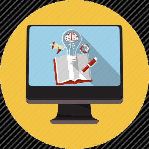 application, brain, bulb, creative, idea, megaphone, monitor icon