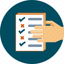document, file, hand, list, note, paper, survey icon