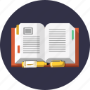book, dictionary, knowledge, marker, open, page, science icon