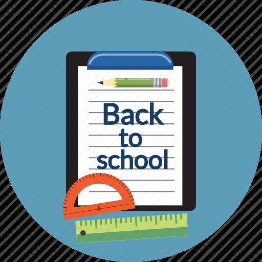 checklist, clipboard, document, file, pencil, rules, school icon