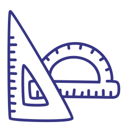 geometry, protractor, ruler, scale icon