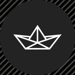boat, paper, ship icon
