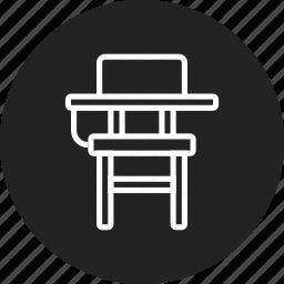 chair, desk, school icon