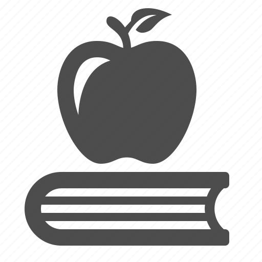apple, book, education, fruit, snack icon