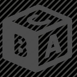alphabet, block, cube, letter, school icon