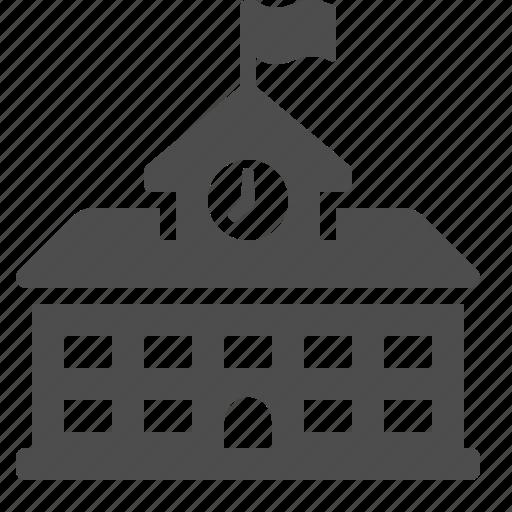 building, clock, college, flag, high school, school, university icon