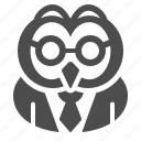 glasses, owl, school, suit, teacher, tie icon