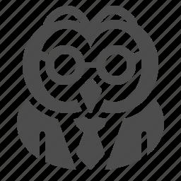 glasses, owl, school, suit, teacher, tie icon