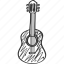 drawing, guitar, instrumental, music, school, song, subject icon