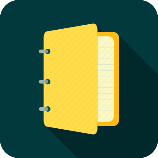 notebook, notes, school, yellow notebook icon