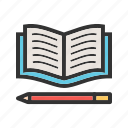 book, education, paper, pencil, stationery, study, write icon