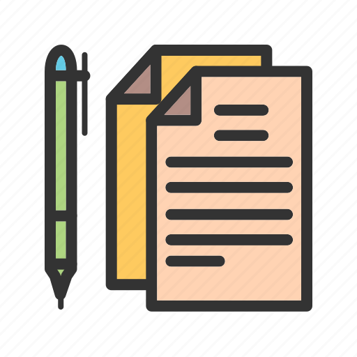 business, contract, document, paper, pen, table, writing icon