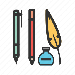 artist, artistic, equipment, pen, pencil, school, writing icon