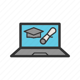 computer, degree, education, graduation, learning, online, university icon