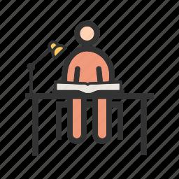 desk, laptop, office, school, study, table, work icon