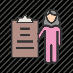 female, presentation, presenter, school, training, woman icon