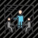 desk, male, man, presentation, presenter, training icon