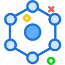 graphic, hexagonal, structure, system icon