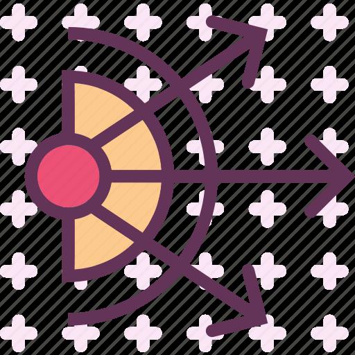 arrows, direction, dispersion, spread icon