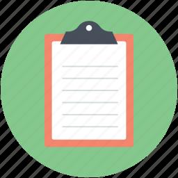 clipboard, document, report, school supplies, sheet icon