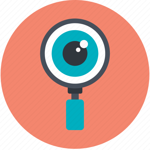 exploration, eye, magnifying glass, search, search concept icon