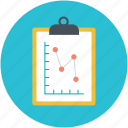 clipboard, graph report, graphics, report board, survey report icon