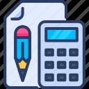 calculator, count, finance, paper, pencil