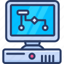 analytics, computer, desktop, science, technology icon